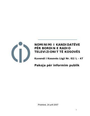 NOMINIMI I KANDIDATËVE PËR BORDIN E RADIO TELEVIZIONIT ...