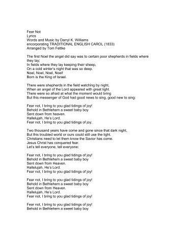 Fear Not Lyrics Words and Music by Darryl K ... - PraiseGathering