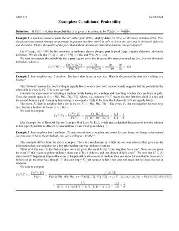 1 Section 6.5 Conditional Probability Example 1: An urn contains 5 ...