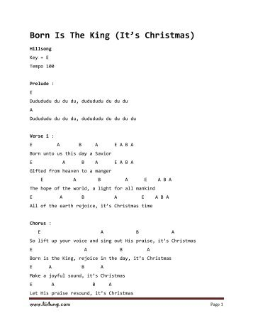 Born Is The King (It's Christmas) chords - Top Christian Lyrics