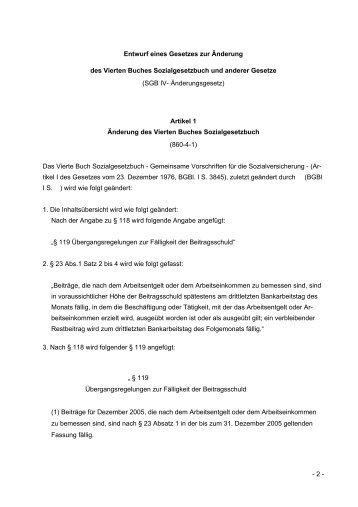 (SGB IV- Änderungsgesetz) A