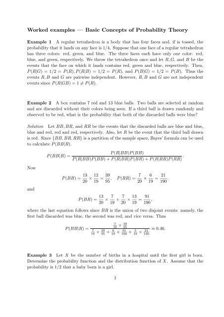 Worked examples — Basic Concepts of Probability Theory