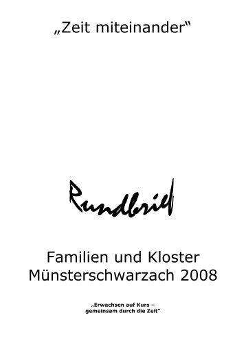 Rundbrief Familien und Kloster 2008 - der Abtei Münsterschwarzach