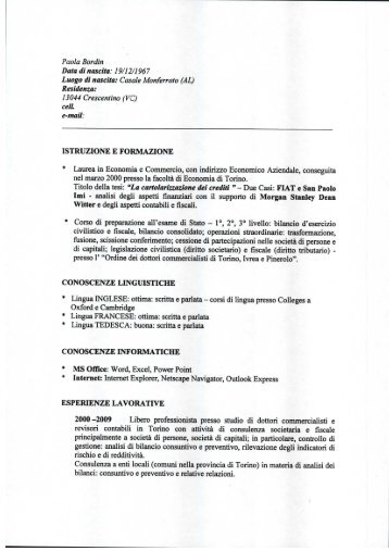 CV di Paola Bordin - ciss - chivasso