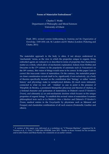 Forms of Materialist Embodiment * Charles T. Wolfe ... - PhilPapers