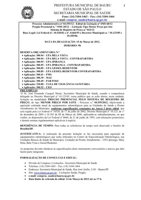 Edital - Prefeitura Municipal de Bauru