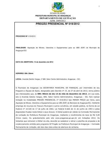 pregão presencial nº 019/2012 - Prefeitura Municipal de Aragarças