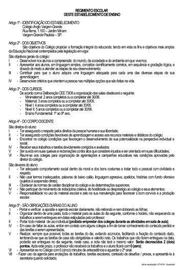 REGIMENTO ESCOLAR - Anglo Vargem Grande Paulista