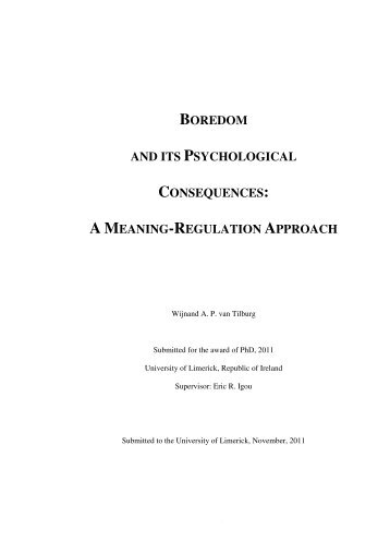BOREDOM AND ITS PSYCHOLOGICAL CONSEQUENCES: A ...