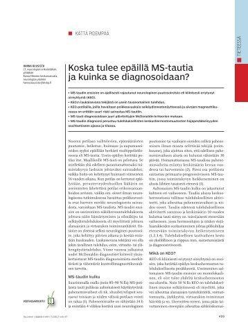 Koska tulee epäillä MS-tautia ja kuinka se diagnosoidaan?