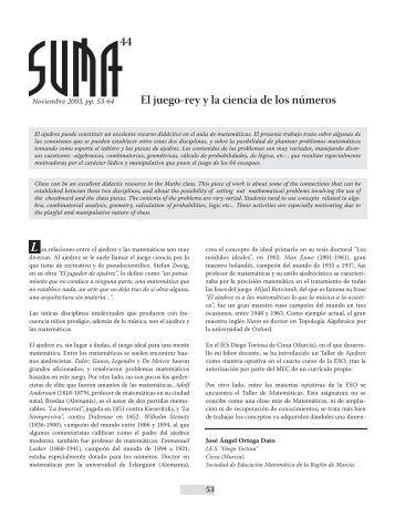 El juego-rey y la ciencia de los números 44 - SUMA Revistas de ...