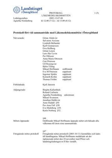 Protokoll 2005-12-07 - Landstinget i Östergötland