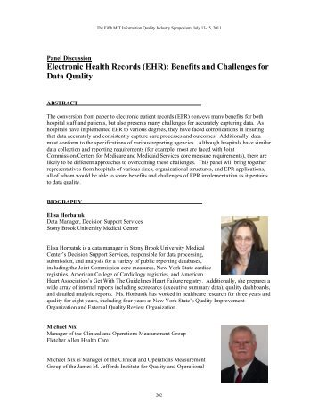 Electronic Health Records (EHR) - MIT Information Quality