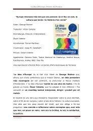 La idea d'Europa. Dossier de Premsa - Grup Focus
