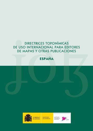 Directrices toponímicas - Instituto Geográfico Nacional