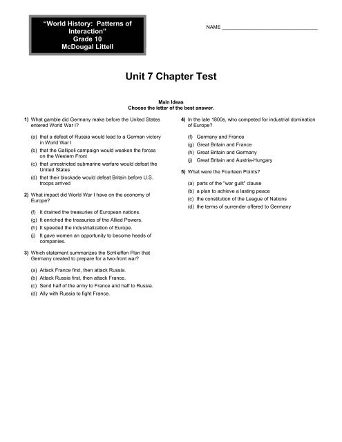 Unit 7 Chapter Test - Holt McDougal