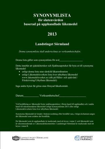 Synonymlistan för slutenvården 2013 - Landstinget Sörmland