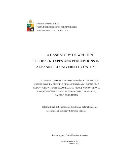 A Case Study Of Written Feedback Types And Perceptions In A