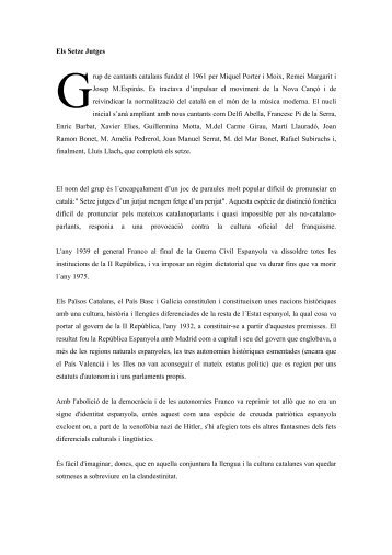 Els Setze Jutges rup de cantants catalans fundat el ... - Edu365.cat