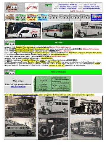 Autocars S. Font S.L. Antes: Lineas Font SA Historial Notas / Noticias