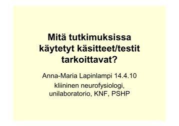 Mitä tutkimuksissa käytetyt käsitteet/testit tarkoittavat? - Filha