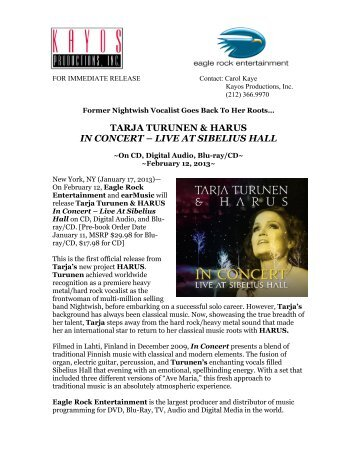 Tarja and HARUS In Concert release - Kayos Productions