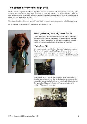 Two patterns for Monster High dolls - Tarja's dolls and miniatures ...