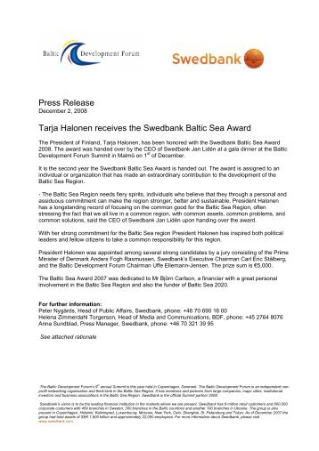 Press Release Tarja Halonen receives the Swedbank Baltic Sea ...