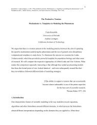 1 The Productive Tension: Mechanisms vs. Templates in Modeling ...
