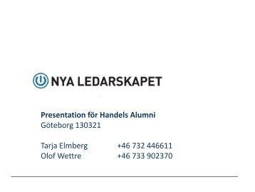 Presentation för Handels Alumni Göteborg 130321 Tarja ... - hhga