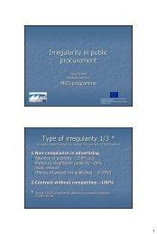 Irregularity in public procurement, Tarja Richards ... - Interact