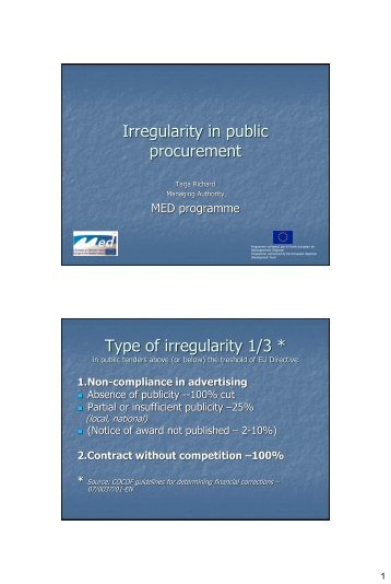 Irregularity in public procurement, Tarja Richards ... - Interact