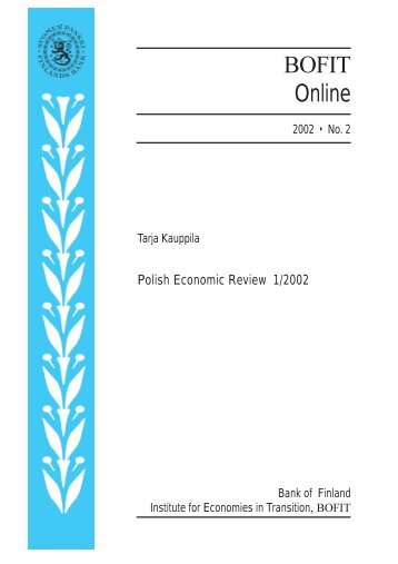 Tarja Kauppila: Pollish Economic Review 1/2002 - Suomen Pankki