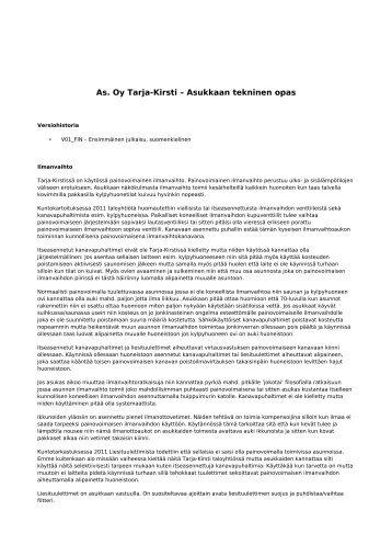 As. Oy Tarja-Kirsti – Asukkaan tekninen opas