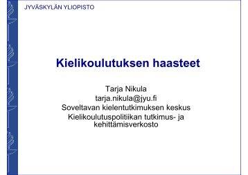 Kieliparlamentti 23032010 alustuspuheenvuoro Tarja Nikula SOLKI JY