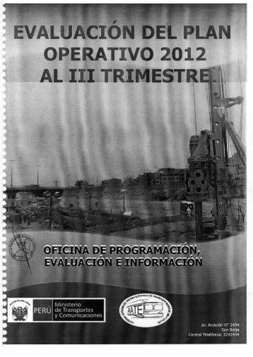 evaluacion del plan operativo institucional iii trimestre 2012