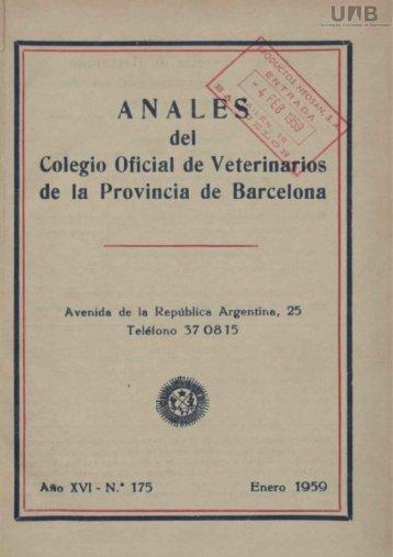 del Colegio Oficial de Veterinarios de la Provincia de Barcelona