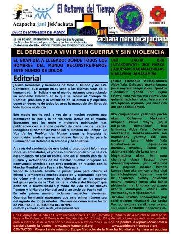 Editorial - Marcha Mundial por la Paz y la No Violencia