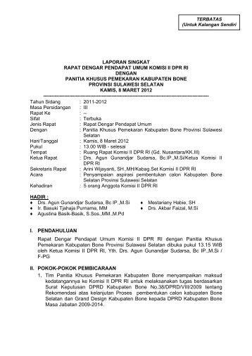 laporan singkat rapat dengar pendapat umum komisi ii dpr ri ...