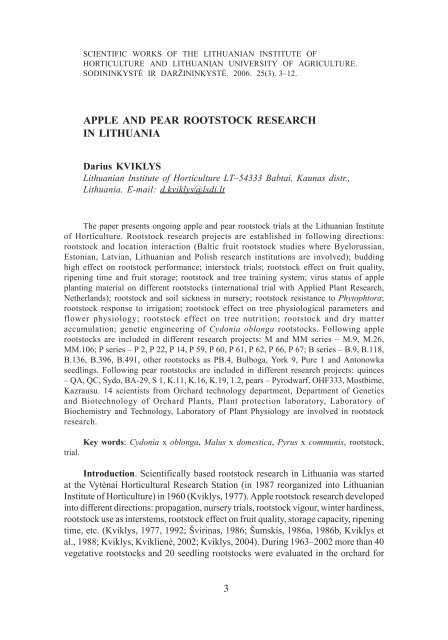 apple and pear rootstock research in lithuania - Sodininkystė ir ...