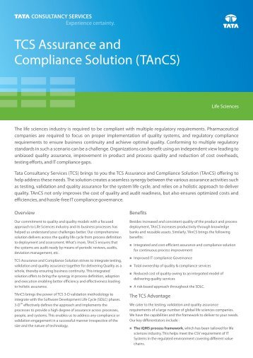 TCS Assurance and Compliance Solution (TAnCS) Flyer_A4_091012