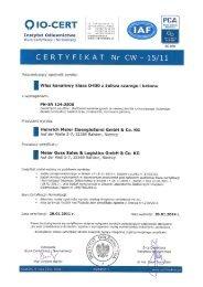 CERTYFIKAT Nr CW-15/11 - Meierguss