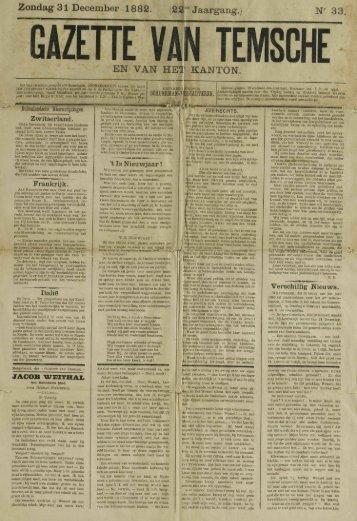 Zondag 31 December 1882. (2ST Jaargang.) N' 33, EN VAM HET ...