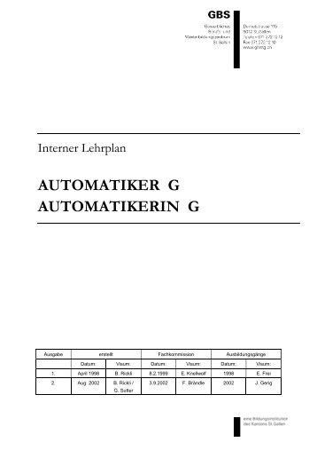 AUTOMATIKER G AUTOMATIKERIN G