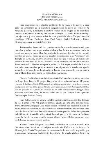 La escritura inaugural de Mario Vargas Llosa - Asociación de ...