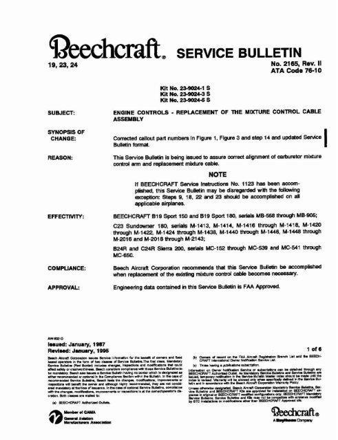 No  2165, Rev  I1 ATA Code 76-1 0 - Beech Aero Club