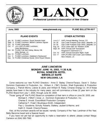 Professional Landmen's Association of New Orleans - PLANO