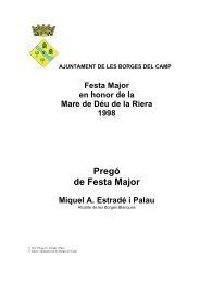 Pregó de Festa Major - Ajuntament de les Borges del Camp