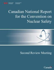 Canadian National Report for the Convention on Nuclear Safety ...
