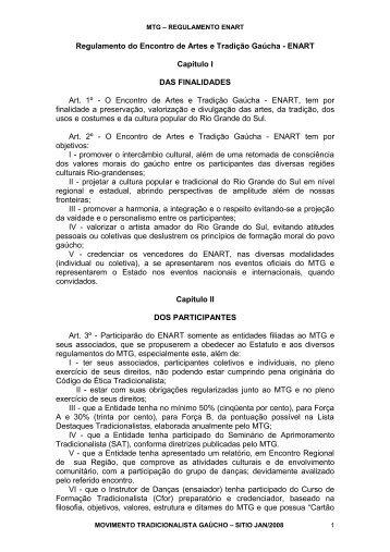 Enart - Regulamento - Movimento Tradicionalista Gaúcho